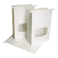 White Paper Cookie / Coffee / Donut Bag with Window and Tin Tie Closure - 500 / Case