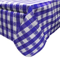 52 inch x 70 inch Blue Gingham Vinyl Table Cover with Flannel Back