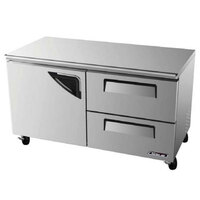 Turbo Air TUR-60SD-D2 60 inch Super Deluxe One Door, Two Drawer Undercounter Refrigerator - 16 Cu. Ft.