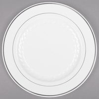 Fineline Silver Splendor 510-WH 10 inch White Plastic Plate with Silver Bands - 120/Case