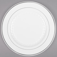 "Fineline Silver Splendor 510-WH 10"" White Plastic Plate with Silver Bands - 120/Case"