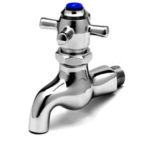 T&S B-0709 Self Closing Single Sink Faucet with 1/2 inch NPT Male Inlet, 4 Arm Handle, Blue Index, and 3/4 inch Garden Hose Outlet