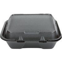 Genpak SN200-BK 9 inch x 9 inch x 3 inch Black Foam Container with Hinged Lid   - 200/Case