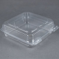 Durable Packaging PXT-900 Duralock 9 inch x 9 inch x 3 inch Clear Hinged Lid Plastic Container - 200/Case