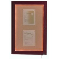 Aarco 24 inch x 18 inch Cherry Finish Lighted Bulletin Board Cabinet