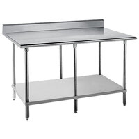 16 Gauge Advance Tabco KMG-3612 36 inch x 144 inch Stainless Steel Commercial Work Table with 5 inch Backsplash and Undershelf
