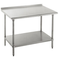 16 Gauge Advance Tabco FAG-242 24 inch x 24 inch Stainless Steel Work Table with 1 1/2 inch Backsplash and Galvanized Undershelf