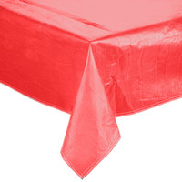 52 inch x 90 inch Red Vinyl Table Cover with Flannel Back