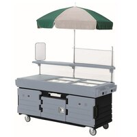 Cambro CamKiosk KVC856U426 Black Base with Granite Gray Door Vending Cart with 6 Pan Wells and Umbrella
