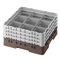 Cambro 9S1114167 Brown Camrack 9 Compartment 11 3/4 inch Glass Rack