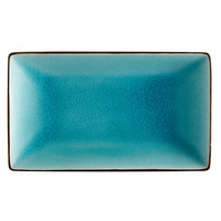 CAC 666-34-BLU Japanese Style 8 1/2 inch x 5 1/2 inch Rectangular China Plate - Black Non-Glare Glaze / Lake Water Blue - 24/Case