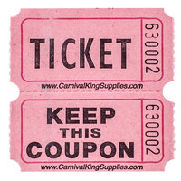 Carnival King Pink 2-Part Raffle Tickets - 2000 / Roll