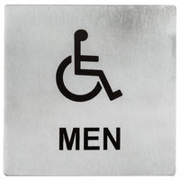 Tablecraft B20 5 inch x 5 inch Stainless Steel Handicap Accessible Men Sign