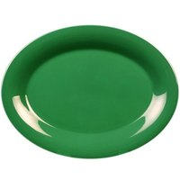 12 inch x 9 inch Oval Green Platter - 12/Pack