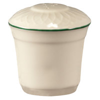 Homer Laughlin 1430-0322 Green Jade Gothic Off White 2 3/4 inch China Pepper Shaker - 36/Case