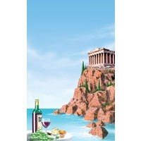 8 1/2 inch x 11 inch Menu Paper Cover - Mediterranean Themed Parthenon Design - 100/Pack