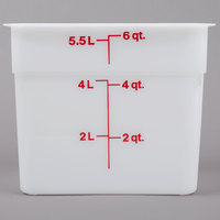 Cambro 6SFSP148 6 Qt. White Square Poly Food Storage Container with Winter Rose-Colored Gradations