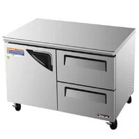 Turbo Air TUR-48SD-D2 48 inch Super Deluxe One Door, Two Drawer Undercounter Refrigerator - 12 Cu. Ft.