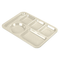 Carlisle 4398025 10 inch x 14 inch Tan Heavy Weight Melamine Left Hand 6 Compartment Tray