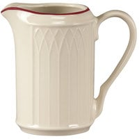 Homer Laughlin 1492-0042 Gothic Red Jade 7.75 oz. Off White Creamer - 36/Case