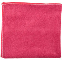 Unger MF40R SmartColor MicroWipe 16 inch x 15 inch Red Heavy-Duty Microfiber Cleaning Cloth