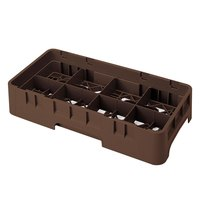 Cambro 8HS800167 Brown Camrack 8 Compartment Half Size 8 1/2 inch Glass Rack
