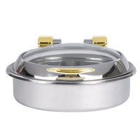 Vollrath 46124 6 qt. Intrigue Glass Top Round Induction Chafer with Brass Trim and Stainless Steel Food Pan
