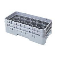 Cambro 17HS318151 Camrack 3 5/8 inch High Gray 17 Compartment Half Size Glass Rack