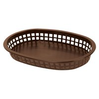 10 3/4 inch x 7 inch x 1 1/2 inch Brown Oval Plastic Fast Food Basket 12 / Pack