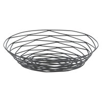 Tablecraft BK17409 Artisan Oval Black Wire Basket - 9 inch x 6 inch x 2 1/4 inch