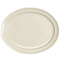 Homer Laughlin 7000-0352 Gothic 11 1/2 inch American White (Ivory / Eggshell) Undecorated Oval Platter - 12/Case
