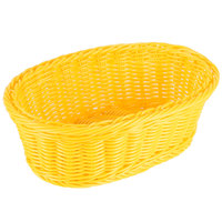 Tablecraft HM1174YE Yellow Oval Rattan Basket 9 1/4 inch x 6 1/4 inch x 3 1/4 inch 6/Pack