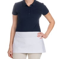 Choice 24 inch x 12 inch White Front of the House Waist Apron
