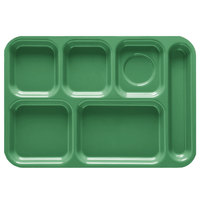 GET TR-152 10 inch x 14 1/2 inch Right Hand 6 Compartment Tray - Rainforest Green ABS Plastic 12 / Pack