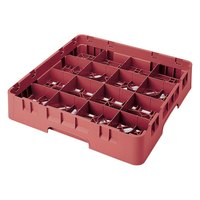Cambro 16S434-416 Camrack 5 1/4 inch High Red 16 Compartment Glass Rack