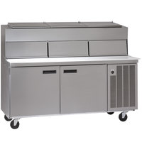 Delfield 18672PDL 72 inch Two Door Refrigerated Pizza Prep Table with Dual LiquiTec Raised Rails