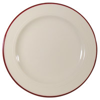 Homer Laughlin Lydia Maroon 10 5/8 inch Off White China Plate - 12 / Case