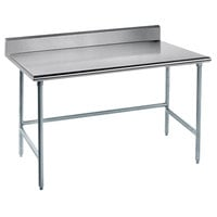 Advance Tabco TKLG-365 36 inch x 60 inch 14 Gauge Open Base Stainless Steel Commercial Work Table with 5 inch Backsplash