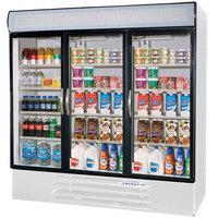 Beverage Air MMF72-5-W White Marketmax 3 Glass Door Merchandising Freezer with Swing Doors - 72 Cu. Ft.
