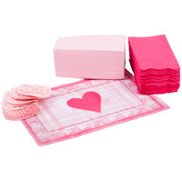 Hoffmaster 856727 10 inch x 14 inch Valentine's Day Placemat Combo Pack - 200 / Case
