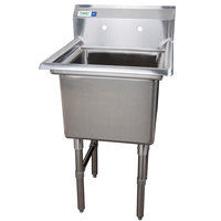 Regency 16 Gauge One Compartment Stainless Steel Commercial Sink without Drainboard - 23 inch Long, 18 inch x 18 inch x 14 inch Compartment