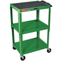 Luxor / H. Wilson W42AGE Green Metal 3 Shelf A/V Utility Cart 18 inch x 24 inch x 42 inch - Adjustable Height