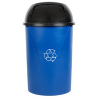 Carlisle Centurian 21 Gallon Blue Half Round Wallhugger Recycling Trash Can and Lid