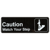 9 inch x 3 inch Black and White Caution, Watch Your Step Sign