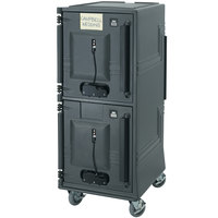 Cambro CMBPTHHD615 Charcoal Gray Electric Combo Cart Plus with Heavy Duty Casters, Top Compartment Heated - 110V