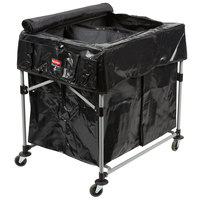 Rubbermaid Laundry Cart, 4 Bushel Collapsible 2 Section X-Cart with Black Cover