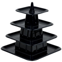 Matfer Bourgeat 681598 4-Tier Black Macaroon Mini Pyramid Display Stand - 6/Pack