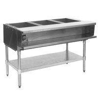 Eagle Group AWTP3 Gas Three Pan Sealed Well Water Bath Steam Table with Galvanized Legs and Safety Pilot