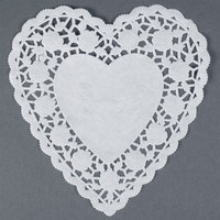 White 6 inch Paper Heart Doilies 1000/Case