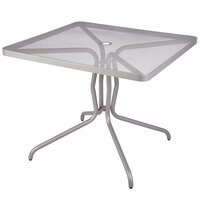 BFM Seating DVN3636TSU Nexus 36 inch Square Titanium Silver Steel Dining Table with Umbrella Hole